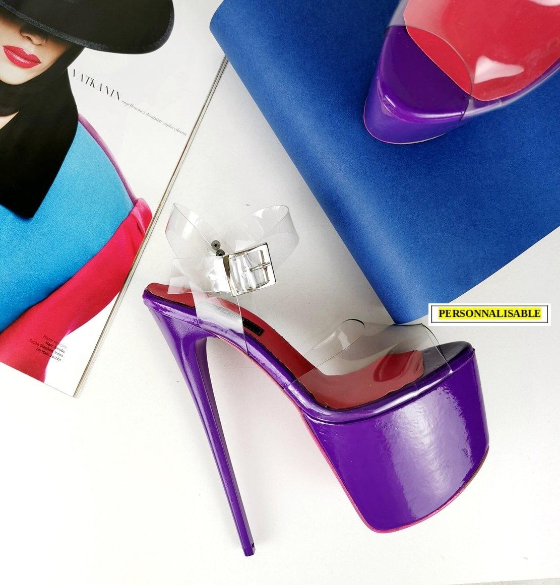 Sandales plateformes à lanières transparentes - Violet