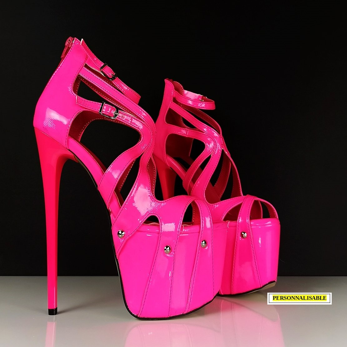 Chaussures plateformes à brides - Rose fluo