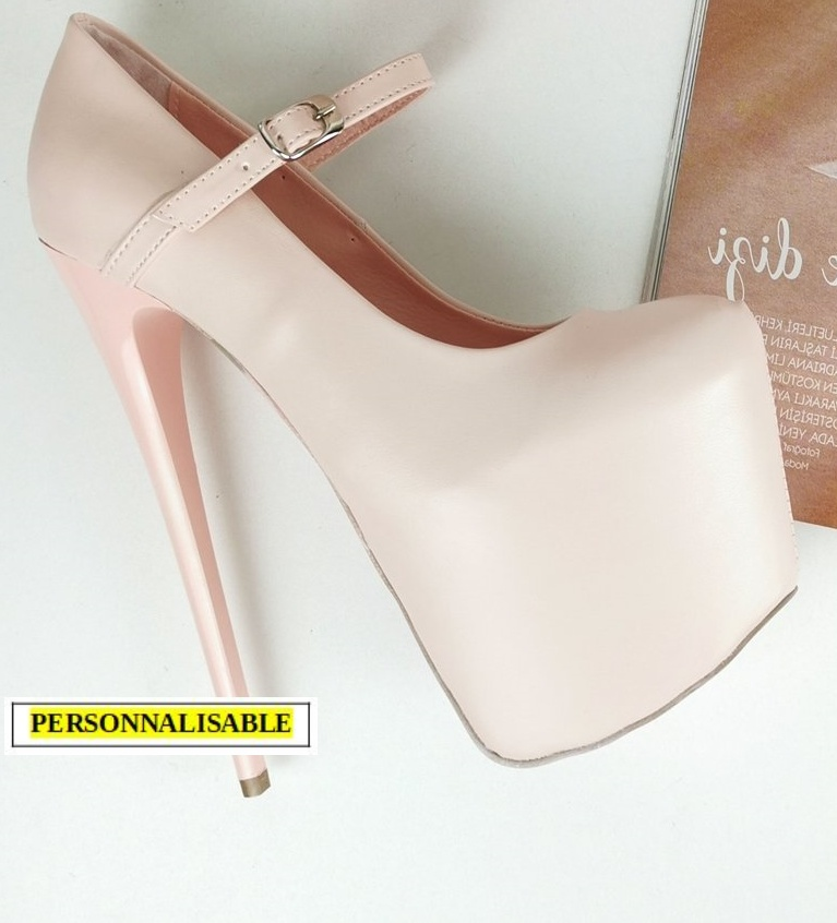 Chaussures plateformes Mary Jane - Rose poudré