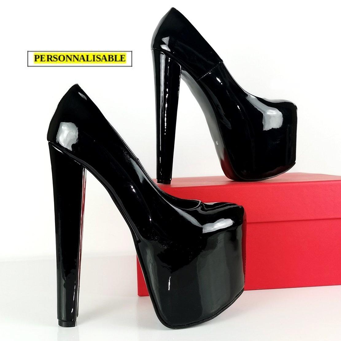 Chaussures plateformes à talon haut - Noir vernis