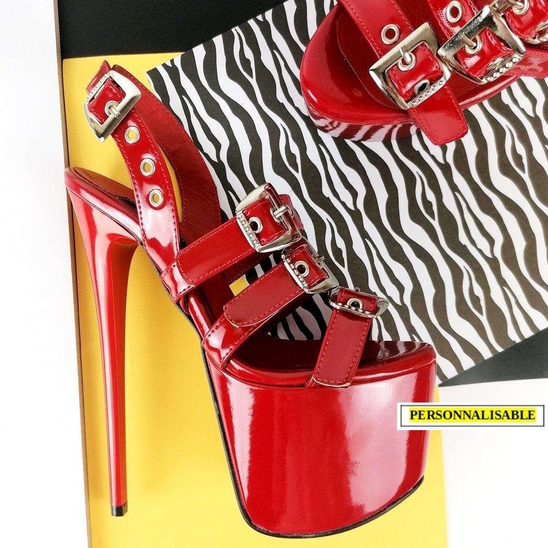 Chaussures plateformes à lanières multiples - Rouge vernis