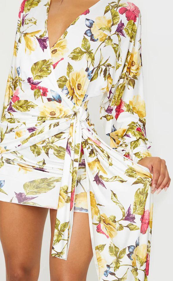Robe à imprimé floral à détail drapé - Blanc