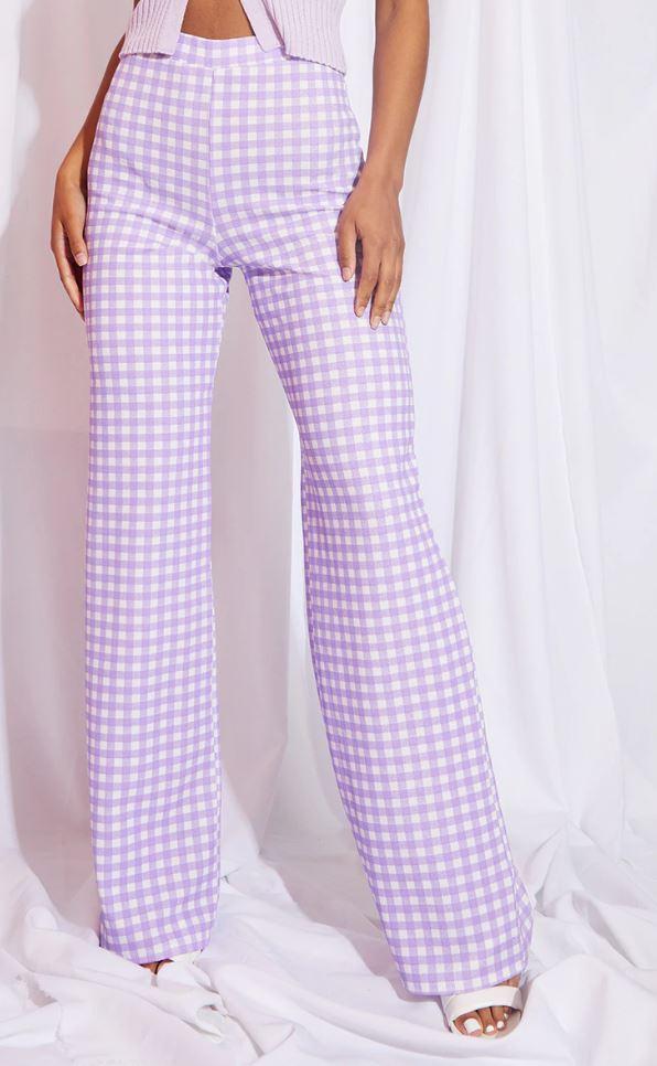 Pantalon large à imprimé vichy - Lilas