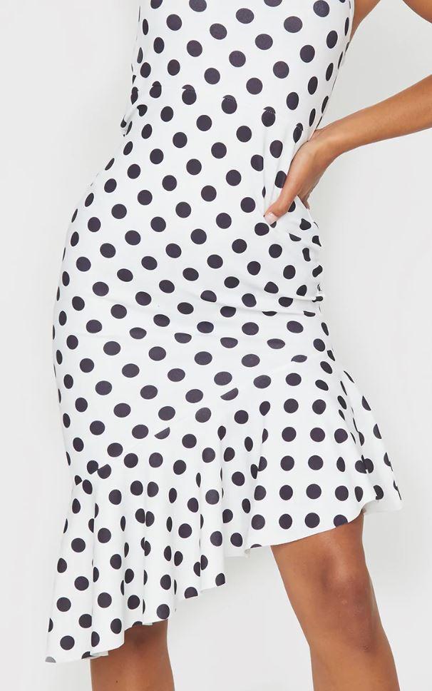 Robe mi-longue à imprimé pois - Blanc/Noir