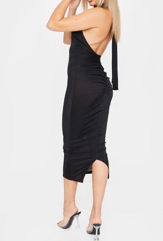 Robe longue texturée à dos nu - Noir
