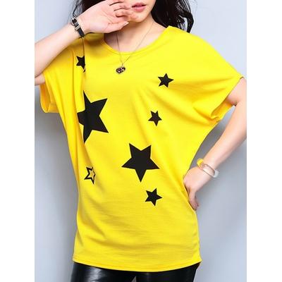 T-shirt jaune imprimé étoiles noires