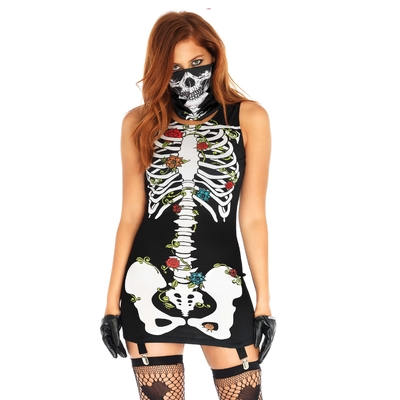 Déguisement sexy femme squelette Bones-n-Roses - Leg Avenue