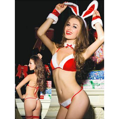 Déguisement lapin sexy Mère Noël en velours 5 pièces