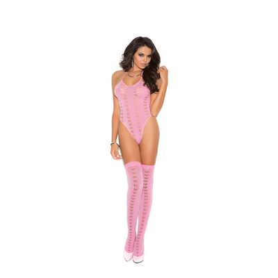 Ensemble lingerie gogo clubwear résille rose - Elegant Moments