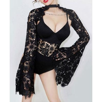 Body en dentelle et veste courte à manches amples - Noir