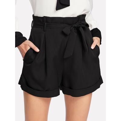 Short avec ceinture - Noir
