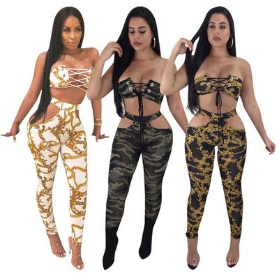 Ensemble sexy pantalon et top imprimés