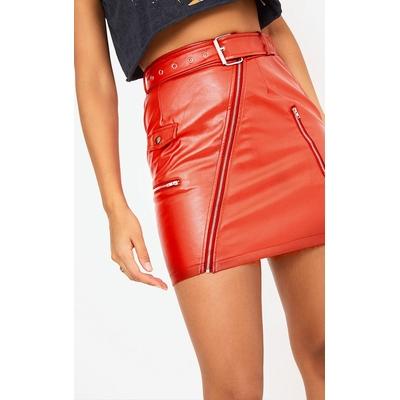 Jupe courte à ceinture biker rouge