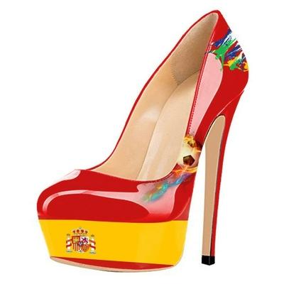 """Chaussures à talon et plateforme """"drapeau"""" Espagne"""