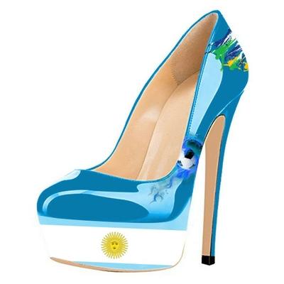 """Chaussures à talon et plateforme """"drapeau"""" Argentine"""