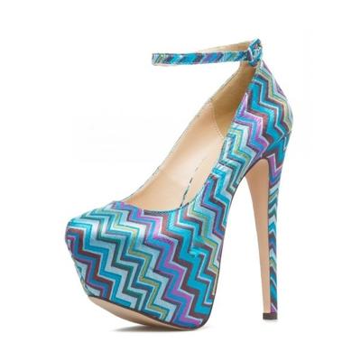Chaussures à plateforme à imprimé géométrique - Bleu