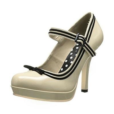 Chaussures vintage à bride et pois - Beige