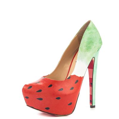 Chaussures à plateforme à imprimé pastèque