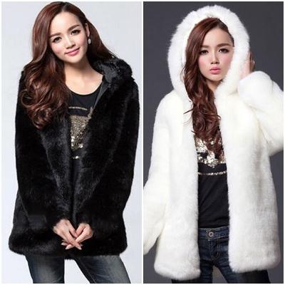 Manteau fausse fourrure à capuche