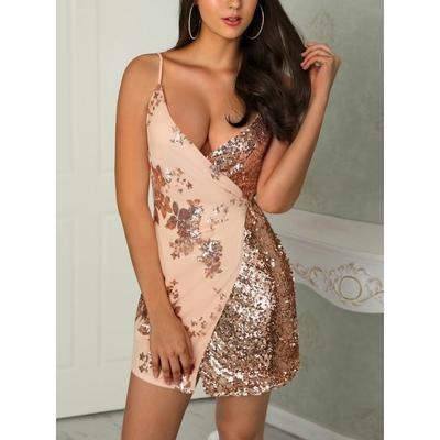 Mini-robe à paillettes - Rose doré