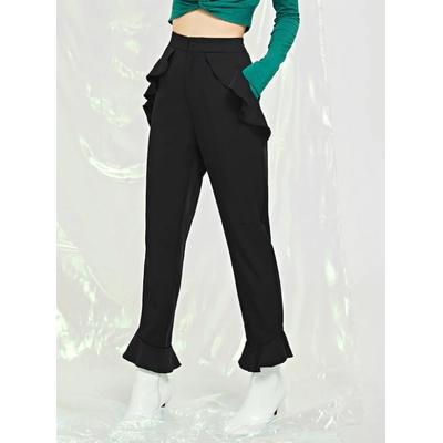 Pantalon bordé de volants - Noir