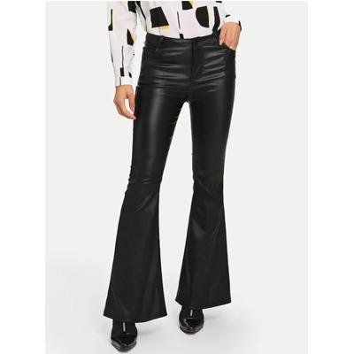 Pantalon évasé en simili - Noir