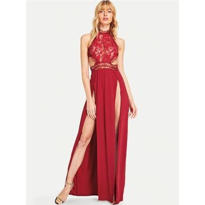 Robe longue fendue avec dentelle - Rouge