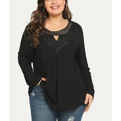 T-shirt grandes tailles avec dentelle - Noir