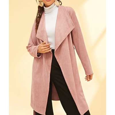 Manteau À Grand Col Relevé - Rose