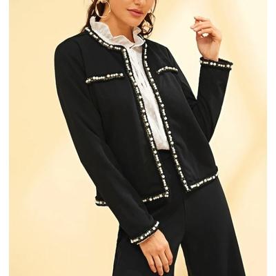 Veste Ouverte Avec Perles - Noir