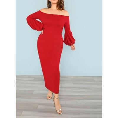 Grande Taille Robe À Épaules Dénudées - Rouge