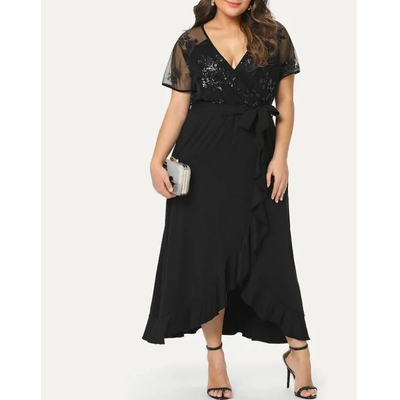 Grande Taille Robe Portefeuille À Paillettes - Noir
