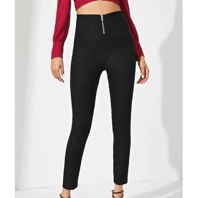 Pantalon Zippé Devant À Taille Haute - Noir