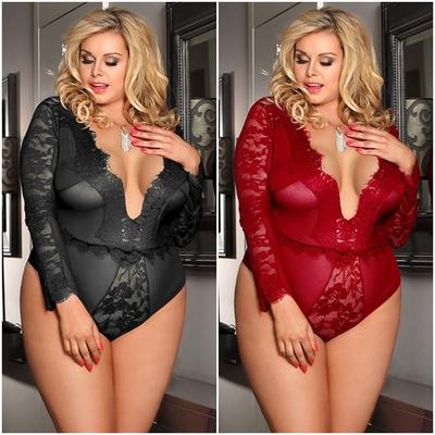 Grandes tailles - Body manches longues en dentelle - Noir ou Rouge