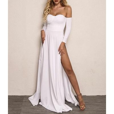 Robe longue de soirée fendue - Blanc