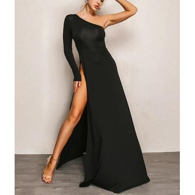 Robe longue de soirée fendue - Noir