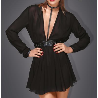 Mini-robe choker en mousseline F150 - Noir Handmade