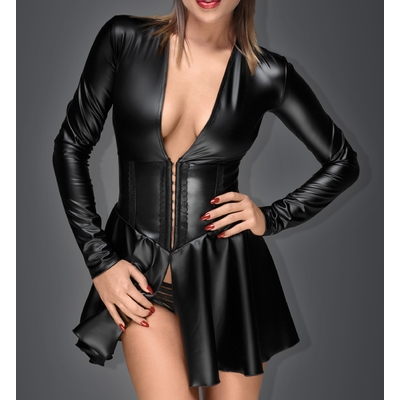 Mini robe corset wetlook F154 - Noir Handmade