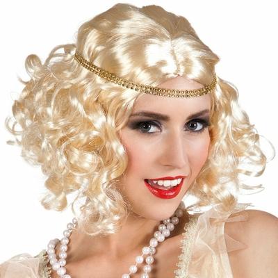 Perruque blonde avec bandeau des années 1920