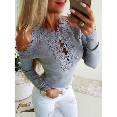 Top avec insertion de dentelle - Gris