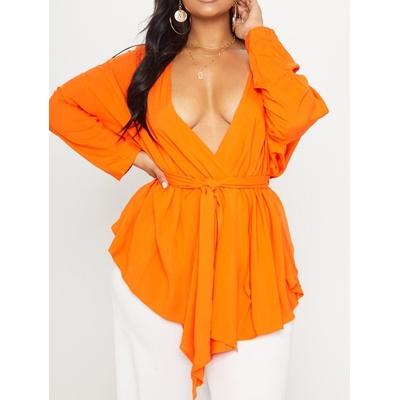 Chemisier orange avec lien à la taille - Grandes tailles