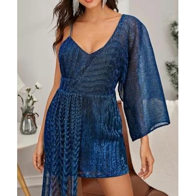 Robe Brillante Asymétrique - Bleu