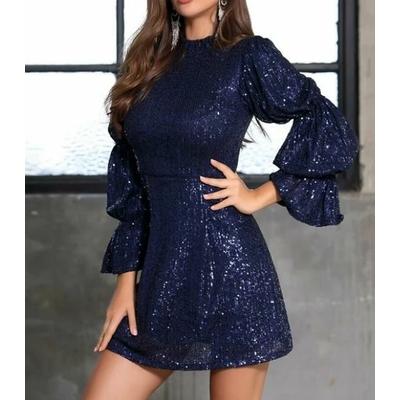 Robe À Sequins Avec Col Montant - Bleu