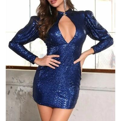 Robe Moulante À Sequins Avec Manches Gigot - Bleu