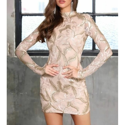 Robe À Sequins Avec Col Montant - Rose pâle