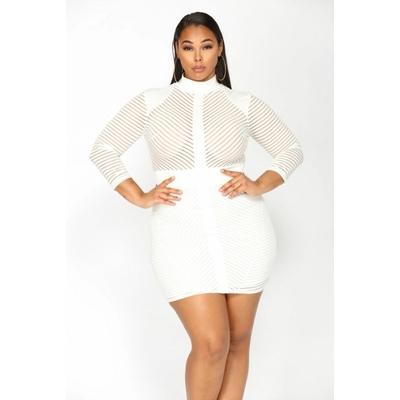 Robe sexy clubwear tissu et mailles - Blanc