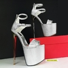 Silver Metallic Double Strap High Heels