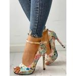 Sandales talon à fleurs