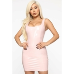 Mystery Making Latex Mini Dress - Rose