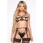 Call Me Tomorrow Lace Garter 3 Piece Set - Black